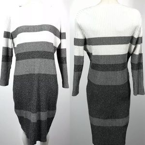 Calvin Klein Sparkle Colorblock Sweater Dress